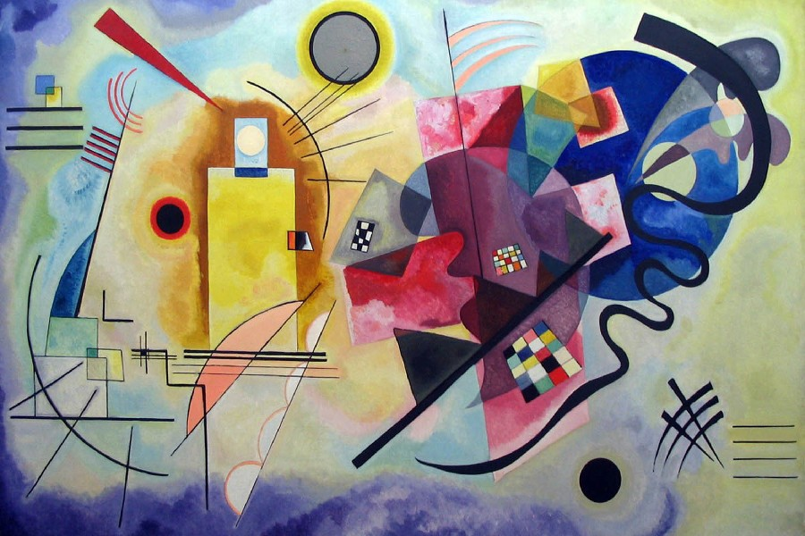 Posters Art Painting Wall-Decor Colourful Frame Silk Wassily DIY Kandinsky