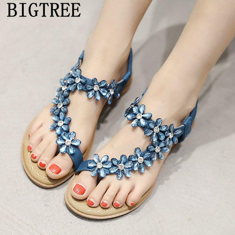 rhinestone sandals blue sandals summer shoes woman fashion flat sandals zapatos mujer verano sandalias de verano para mujer(China)