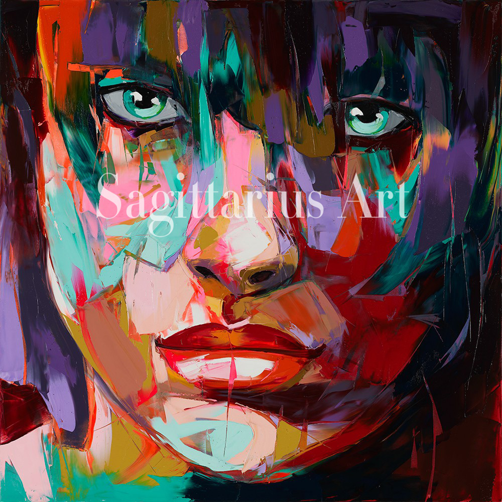 Francoise Nielly Designer Hand Painted Cool Face Art Palette knife portrait Untitled 92 Oil painting canvas Living Room Wall ArtFrancoise Nielly Designer Hand Painted Cool Face Art Palette knife portrait Untitled 92 Oil painting canvas Living Room Wall Art