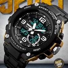2018 Skmei الفاخرة العلامة التجارية رجل الرياضة الساعات الغوص 50 m الرقمية LED ووتش العسكرية الرجال عارضة الالكترونيات المعصم Relojes