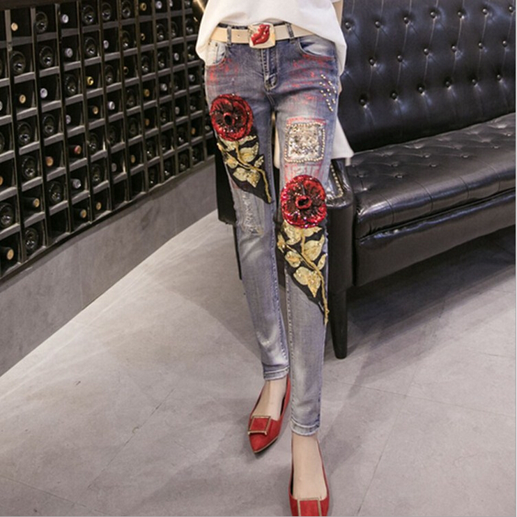 European Fashion Beading Sequined Hole Embroidery Straight Capris Pencil Denim Pants Jeans A 143