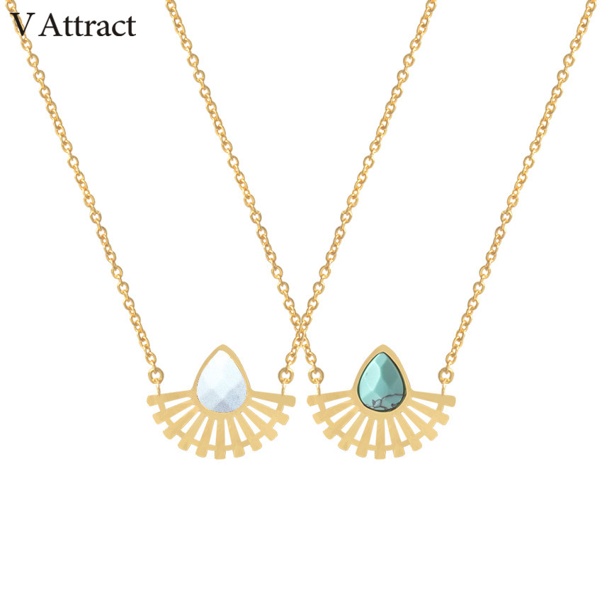 V Attract Stainless Steel <font><b>Ketting</b></font> Natural Stone Choker 2018 <font><b>BFF</b></font> Jewelry Gold Silver Teardrop Pendant Necklace Sector Boho Bijoux image