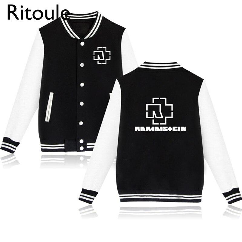 Ritoule Rammstein Baseball Hoodie Jackets for Men Long Sleeve Hip Hop Hoody Sweatshirt XXXL Rammstein Black Hoodies