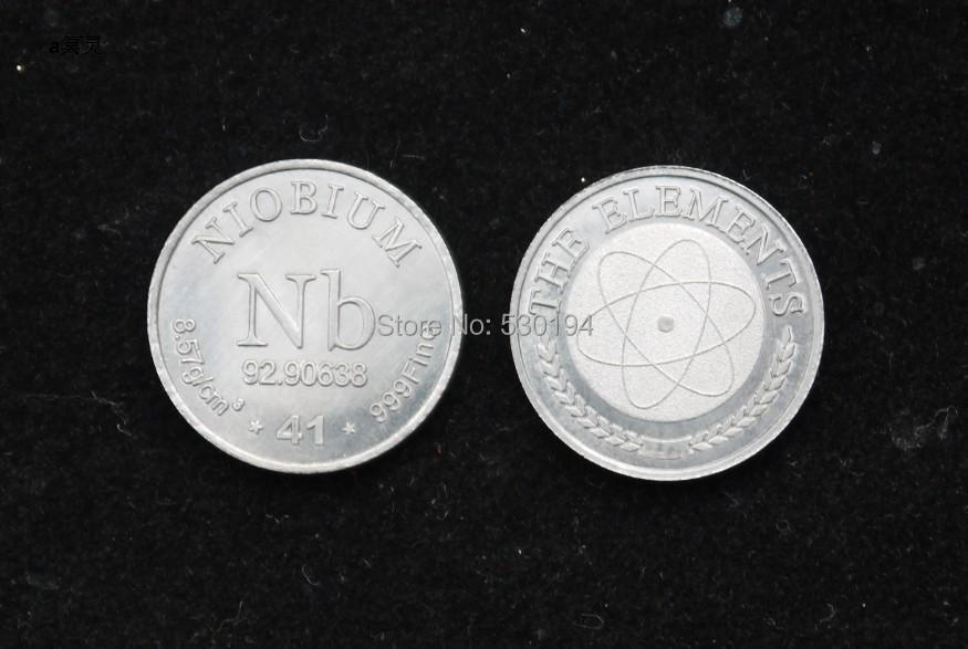 99.9% High Purity NIOBIUM Nb Metal Carved Element Periodic Table Coin Shape forever