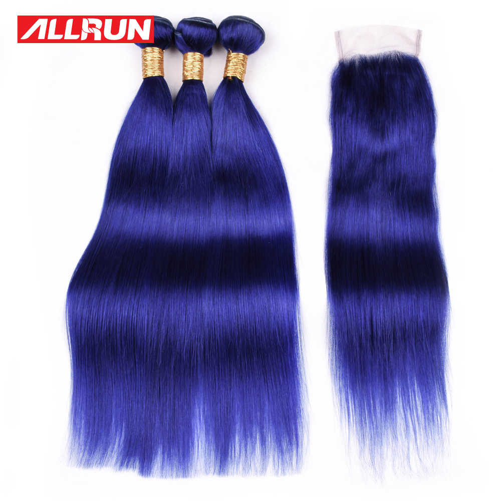 Allrun Pre-Colored Pure Blue Straight Hair Bundles With Closure Brazilian Human Hair Bundles With Closure 4*4 100% Remy Weave