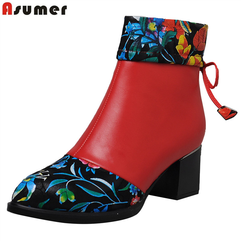ASUMER big size 34-42 fashion ankle boots mixed colora genuine leather boots zip pointed toe autumn winter shoes woman 2019 new printing new boots 2015 autumn winter genuine leather mixed colors thick with pointed toe woman boots stylish comfortable shoes