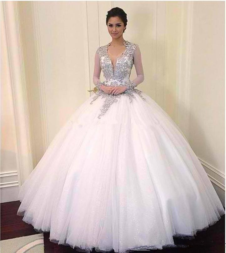 2016 Exquisite V Neck Sheer Long Sleeves Beaded Crystal Lique Y Keyhole Back Star Magic Ball Gown Wedding Dresses In From Weddings