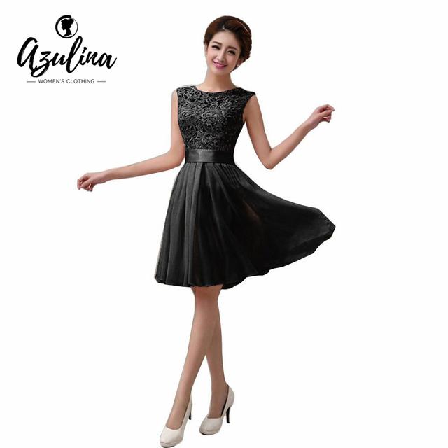 Azulina 2017 sexy elegante verão princess dress mulheres floral preto de renda branca chiffon lace dress plissada festa vestido de festa