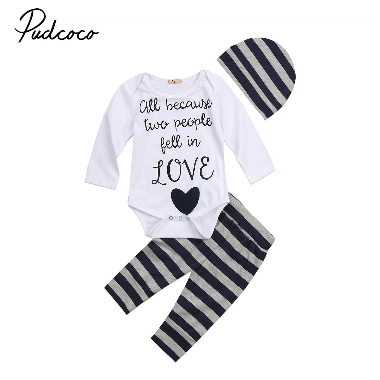 3PC Baby Boy Letters Print Clothes Outfit Infant Kids Long Sleeve Cotton Romper Tops+Stripes Pants+Hat Clothing Set Autumn