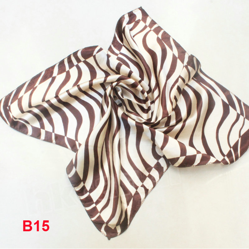 Fashion Brand Female 50cm Brown Zebra Scarf Bandanas Handkerchief Neckerchief  Polyester Square Scarf/Shawl For Ladies B015