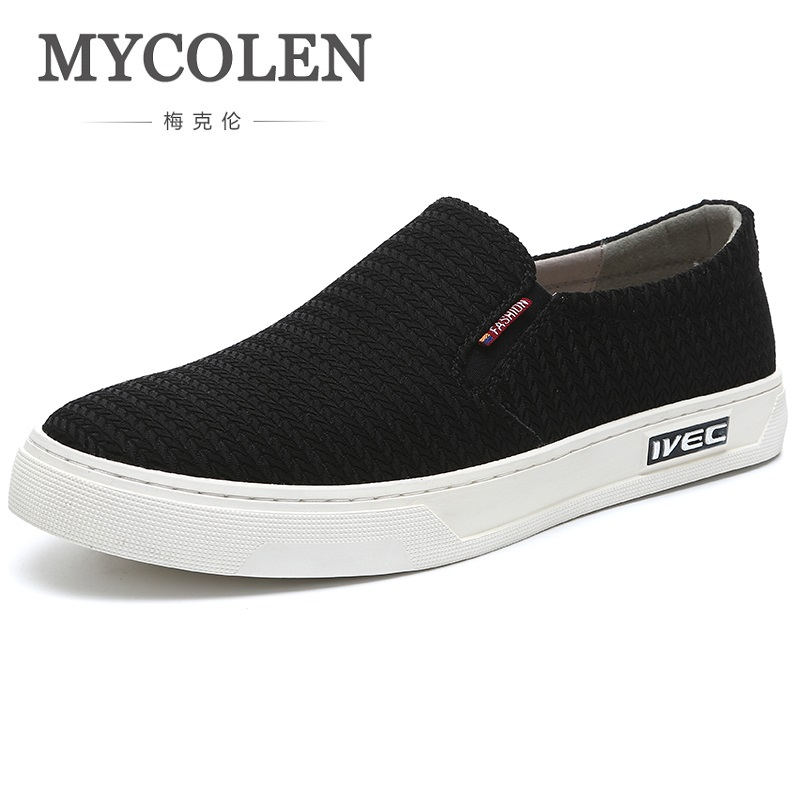 MYCOLEN Hot Sale Fashion Summer Shoes Men Breathable Personality Casual Shoes Lightweight Slip-On Black Flats Shoes Tenis branded men s penny loafes casual men s full grain leather emboss crocodile boat shoes slip on breathable moccasin driving shoes