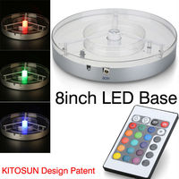 New Product Sale Lithium battery operated dreamlike Multi color 8Inch led Centerpiece Light Base for Candelabra Crystal