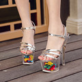 2017 New Arrive Flower Platform Shoes Extremely High Heels Women Sandals Sexy Transparent Pump 19cm Thin Heel