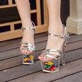 2017 Nuevo Llega la Plataforma de la Flor Zapatos Extremadamente Altas Sandalias de Las Mujeres Sexy Transparente de La Bomba 19 cm Talón Fino