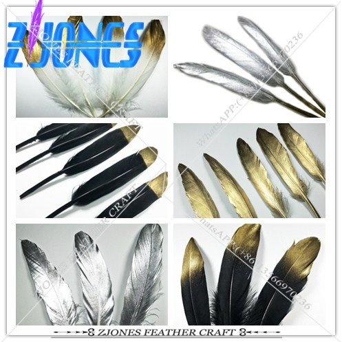 New!20Pc Gold/Silver Dipped Natural White Goose Feather For Various DIY Feather Crafts, Dreamcatcher Making Feather Accessories