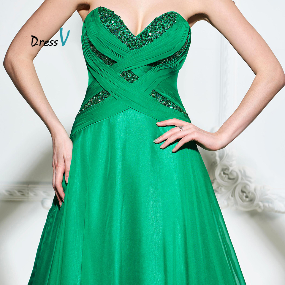 Dressv green a line long evening dress elegant strapless sweetheart ...
