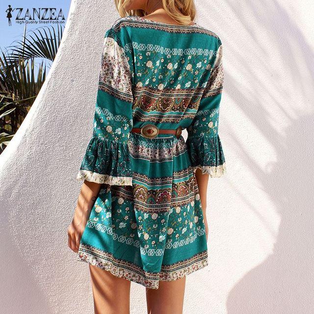 ZANZEA Women Vintage Floral Print Sexy Party Mini Dress 2017 Lady Ruffled Flounce 3/4 Sleeve Deep V Neck Lace Up Casual Vestidos
