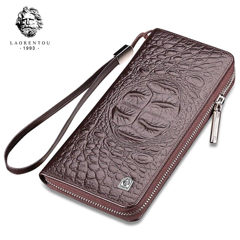LAORENTOU Wallets Mengenuine Large-Capacity Luxury Long Zipper with Wrist-Strap Crocodile