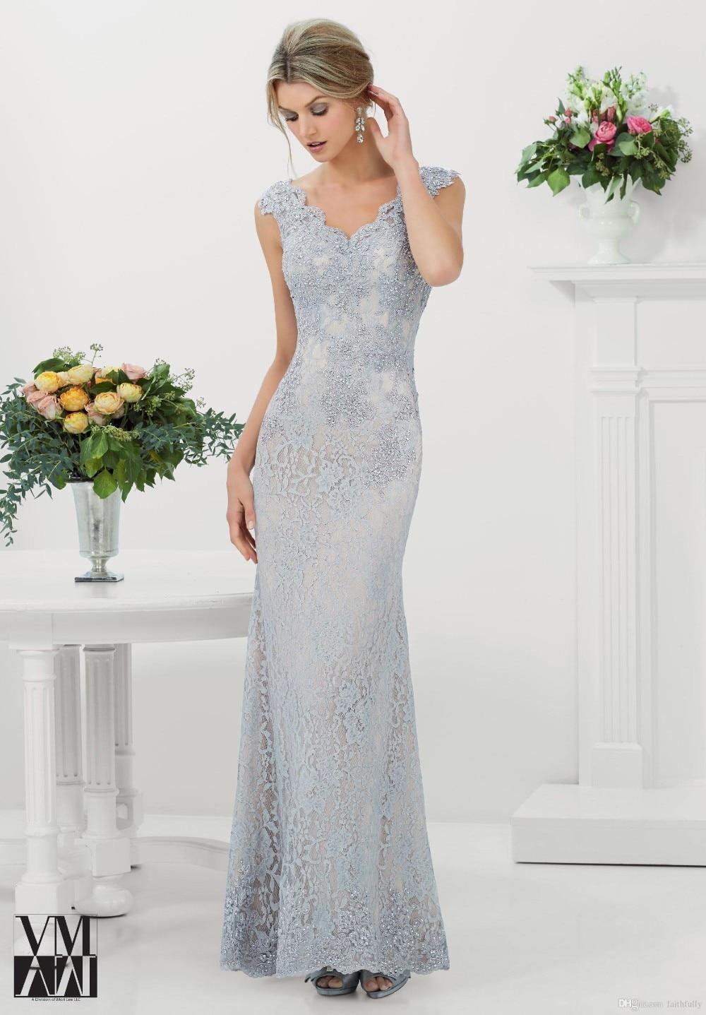 2015 Mermaid Evening Dresses Scalloped Silver Lace Applique Capped Appliques Gowns Arabic Vestidos Button