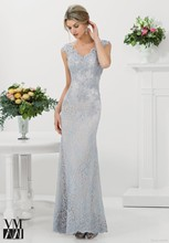 2015 Mermaid Evening Dresses Scalloped Silver Lace Applique Capped Appliques Gowns Arabic Vestidos Button