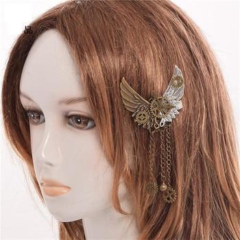 2018 Girls Steampunk Gear Wings Tassels Hair Clip Hairpin Gothic Punk Vintage Lolita Lady Headwear Hair Accessories 1