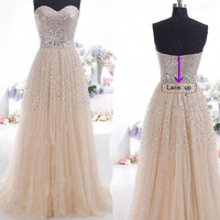 2018 Women Champagne Blue Evening Party Dress Formal Tulle Dresses Sweetheart Neck Line Sequin Beaded Bal Graduation Party Dress
