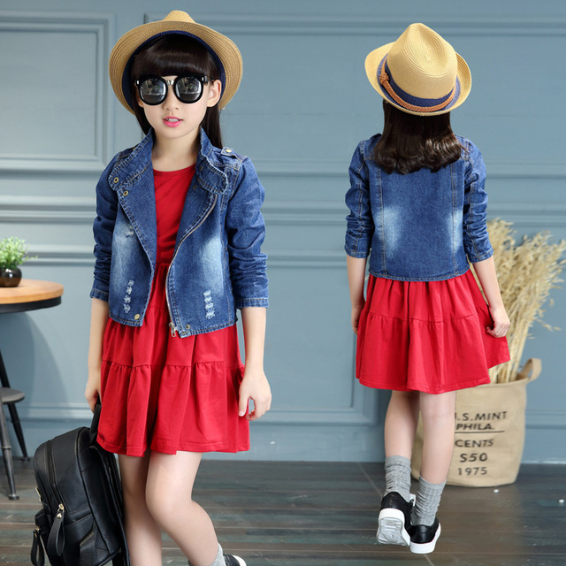 Children Clothing Sets For Girls Denim Coats & Dress 2Pcs 2017 Spring Kids Outfits 3 5 7 9 11 12 Years Long Sleeve Girls Dresses