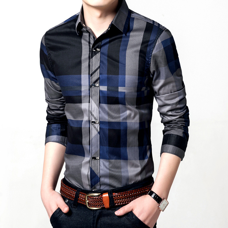 Quality Metal Button Men Cotton Shirt Mens Business Casual Shirts Brand Clothing Slim Fit Plaid Long Sleeve Camisa Masculina 2
