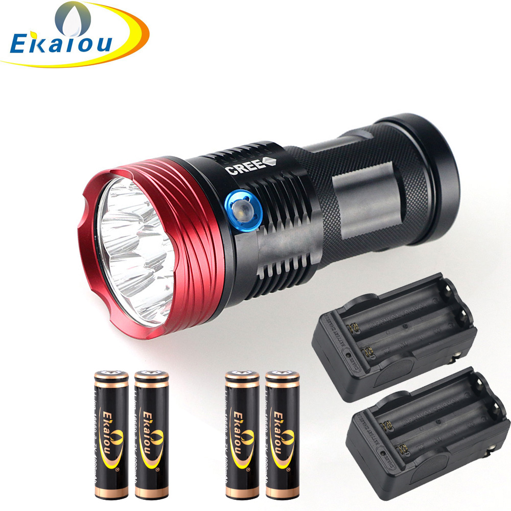 18000 Lumens 9x Cree Xm-l T6 LED Flashlight Torch Tactical Hunting 18650 Torch & 4x18650 4000MAH Battery +2x EU Charger 15000 lumens 9x cree xm l t6 led flashlight torch tactical hunting 18650 torch