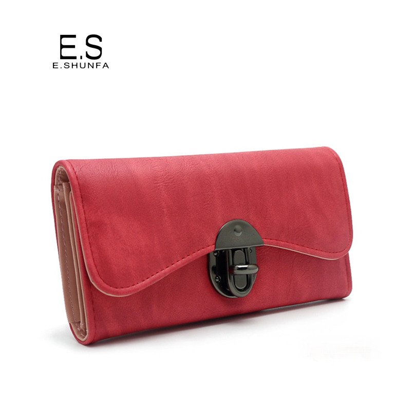 Vintage Fashion Women Wallet 2018 Casual PU Leather Long Wallet Clutch Purse High Quality Metal Hasp