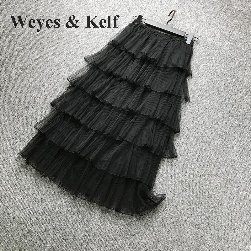 Weyes & Kelf Милая элегантная многослойная юбка принцессы для женщин 2018 Весенняя длинная юбка с оборками Тюлевая юбка пачка женские розовые юбки для женщин - 4