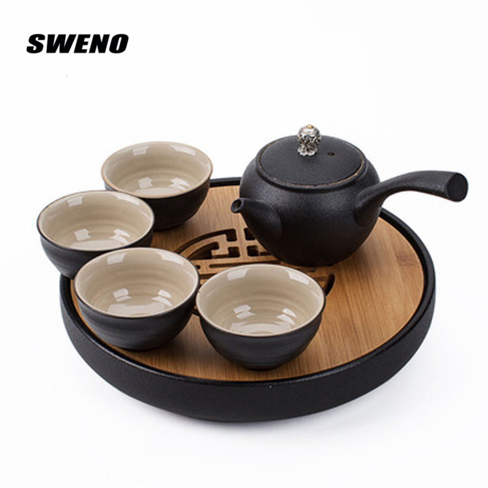 Japan Style Black Pottery Portable Travel Tea Set Kung Fu Tea Suit With Teapot Teacup Tray High Grade Gift Box Travel Tea Set