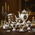 Luxus Muse kaffee set Bone china kaffee topf tasse untertasse set Britischen elegante nachmittag tee set keramik blume tasse Untertasse löffel-in Kaffeezubehör-Sets aus Heim und Garten bei