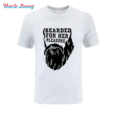 2019 summer New Bearded For Her Pleasure With Beard Funny T shirt Men Printed T-shirt Short sleeve Boys Tops Asian size XS-4XL