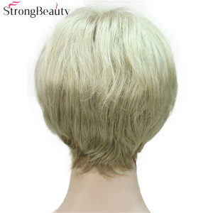 Image 5 - Strong Beauty Short Synthetic Straight Wigs Heat Resistant Black Hair For Women