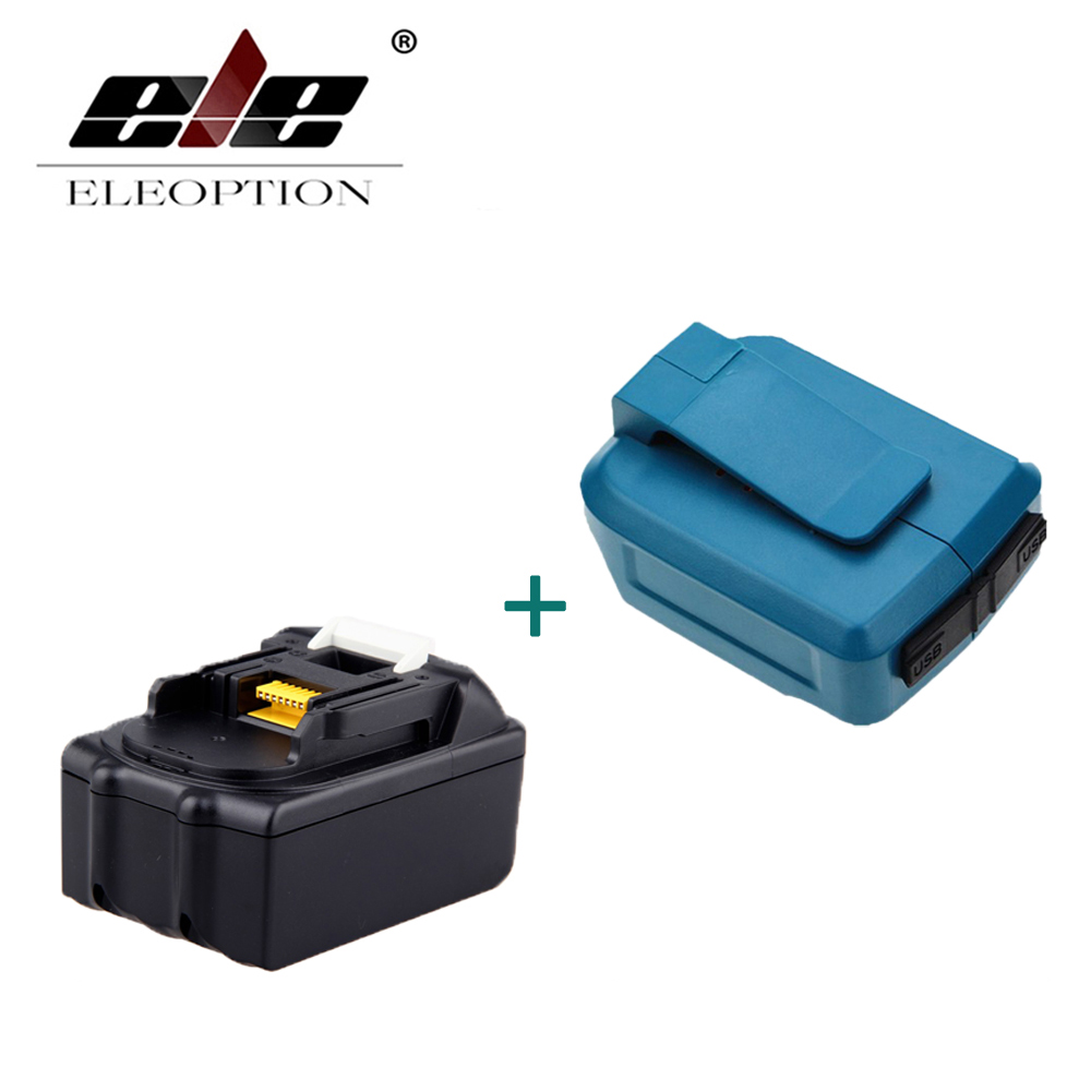 ELEOPTION 18V 3000mAh Rechargeable Power Tools Battery For Makita BL1830 BL1840 BL1815 Li-Ion + Dual USB Charger Adapter eleoption for makita 18v 3000mah power tool battery pack for bl1830 bl1840 recharegeable battery cordless drill li ion batteries