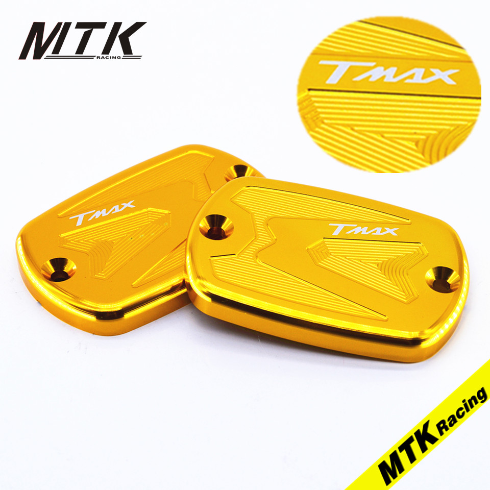 MTKRACING Pair CNC Aluminum Motorcycle For Yamaha T Max 530 2012-2017 500 2008-2011 Front Brake Reservoir Fluid Tank Cap 04 05 06 07 08 09 10 11 12 13 14 new cnc short straight adjustable brake clutch lever for yamaha majesty 400 t max 500 t max 530