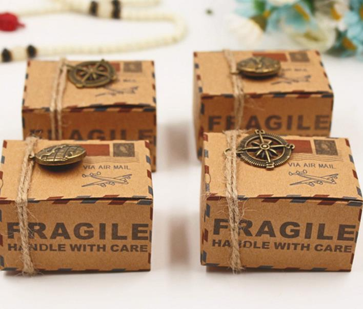 Vintage kraft paper favor box with compass globe pendants Airplane Air Mail Parcel candy gift box birthday party wedding decor