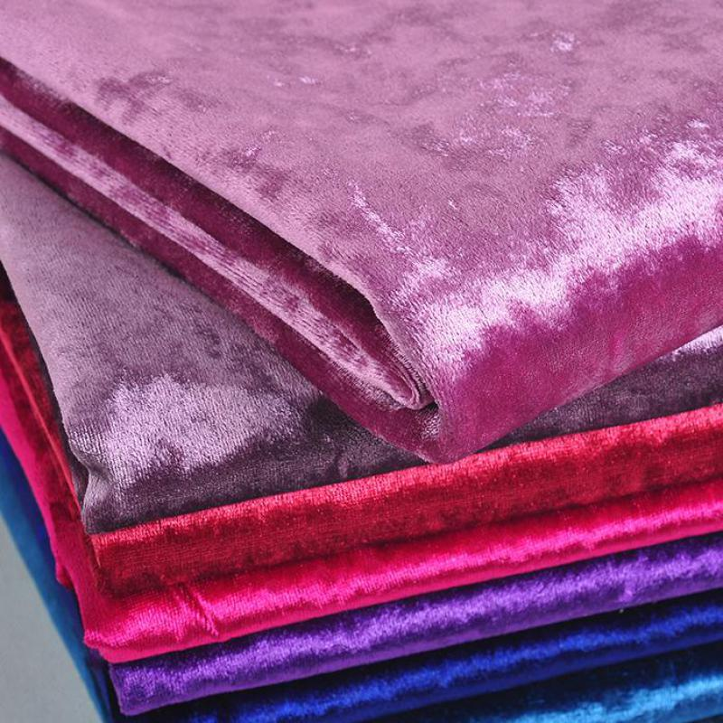 50x145cm Thick Ice Gold Velvet Fabric For Sofa Luxury Soft Purple Textil Curtain