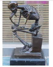 Western Bronze Marble Art Statue Skull human SKELETON THINKER Crafts Home Furnishing Arts pure copper