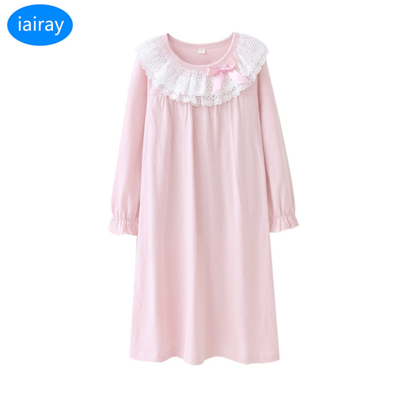 iairay autumn 2018 children pajamas for girls long sleeve cotton fabric girls nightgown girl night dress blue lace nightgowns