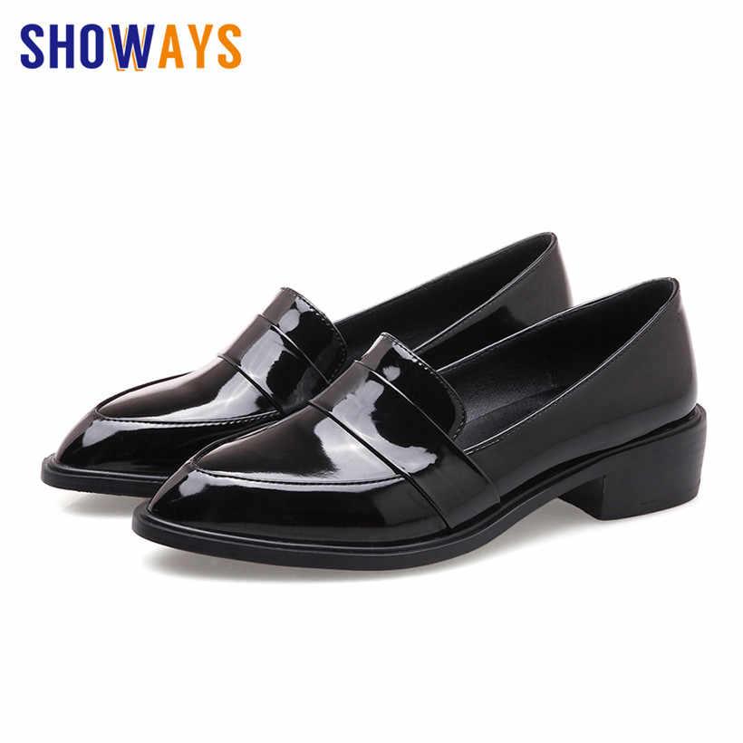 2019 Classic Vrouwen Loafers Rood Lakleer Casual Kantoor Zakelijke Dame Puntschoen Oxfords Flats Britse Slip-op Jurk schoenen