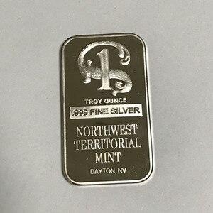 1 pcs Non Magnetic Northwest TERRITORIAL mint bar brass core 1 OZ silver plated ingot badge 50 mm x 28 mm scottsdate bars(China)
