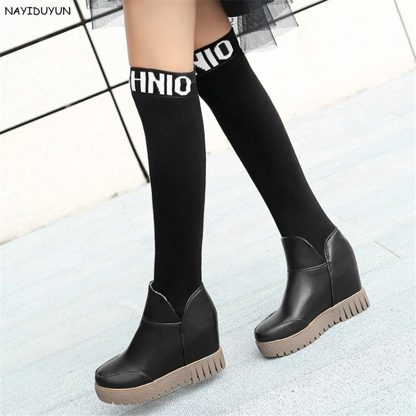 NAYIDUYUN   New Thigh High Shoes Women Wedge Slip On Over The Knee Boots High Heel Punk Sneaker Oxfords Platform Riding Greepers nayiduyun new thigh high shoes women wedge slip on over the knee boots high heel punk sneaker oxfords platform riding greepers