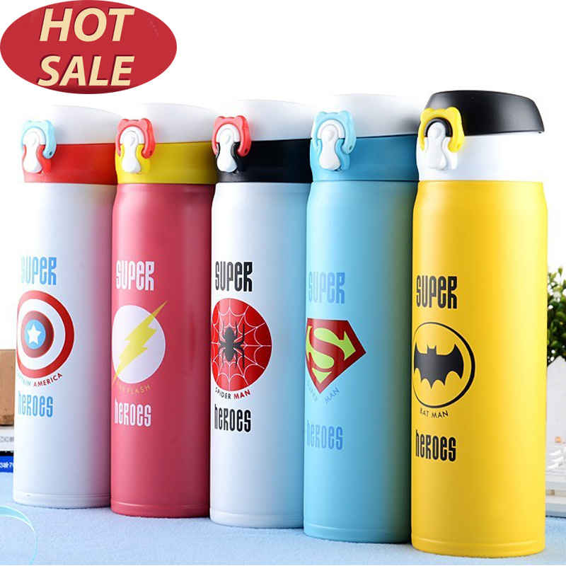 350ml 500ml Thermoses Mug Super Heroes Stainless Steel Car Vacuum Flask Office Coffe Cup Vehicle Bottle Travel Thermos Kids Gift