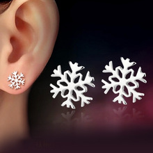 100% 925 sterling silver fashion snowflake ladies`stud earrings jewelry women female birthday gift drop shipping Anti allergy