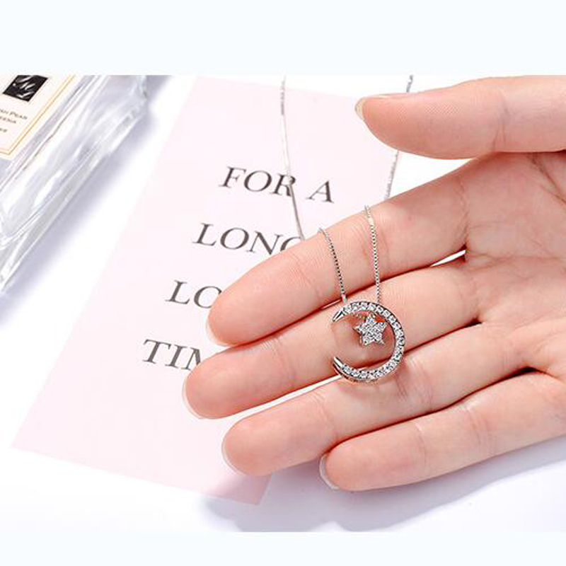 New Women 925 Sterling Silver Necklaces Jewelry Cubic Zirconia Moon Star Necklaces Pendants for Girl Party Valentine's Day Gifts