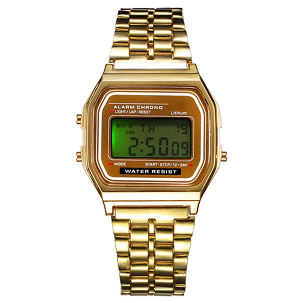 Vintage Womens Mens Stainless Steel LCD Digital Sports Stopwatch Watch Gold For Men Hot