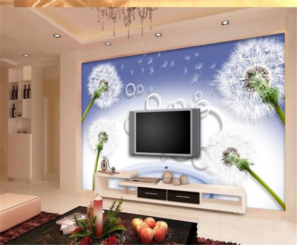 US $8.25 45% OFF|Custom Any Size 3d Wallpaper Fantasy Dandelion 3D Circle  TV Background Wall Decoration Mural Wallpaper-in Wallpapers from Home ...