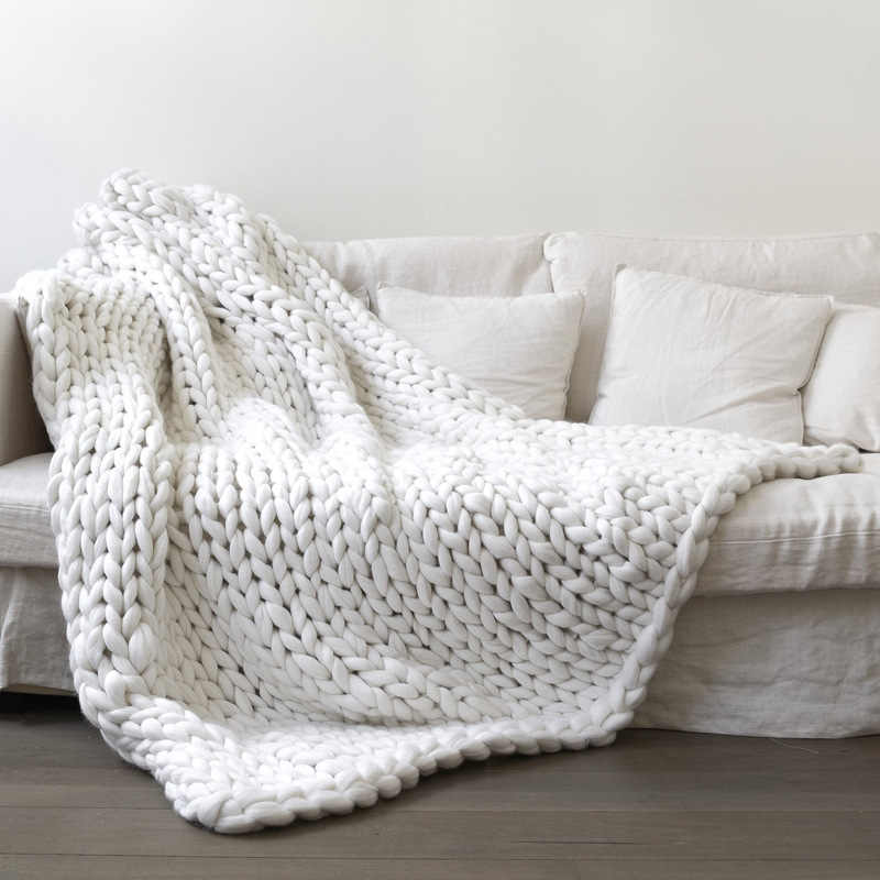 부드러운 두꺼운 거대한 큰 큰 손 chunky 니트 담요 메리노 양모 크로 셰 뜨개질 사진 handmake 니트 짠 원사 침대 담요를 던져